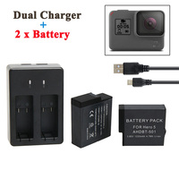 GoPro Hero 5 Battery 2PCS 1220mAh GoPro 5 Battery USB Dual Battery Charger For GoPro Hero5