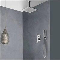 Becola Бесплатная доставка скрытый душ. Скрытые Смесители для душа. 10 дюймов осадков квадратных насадка для душа, Для ванной смеситель