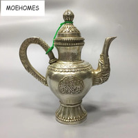 MOEHOMES China Collectible home Decorate Old Tibet silver tea pot metal crafts Flagon