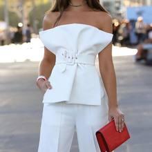 effbdf92e0 Missord 2019 Women Sexy Backless Sleeveless Off Shoulder Elegant Sashes Two  Piece Set Playsuits FT18363