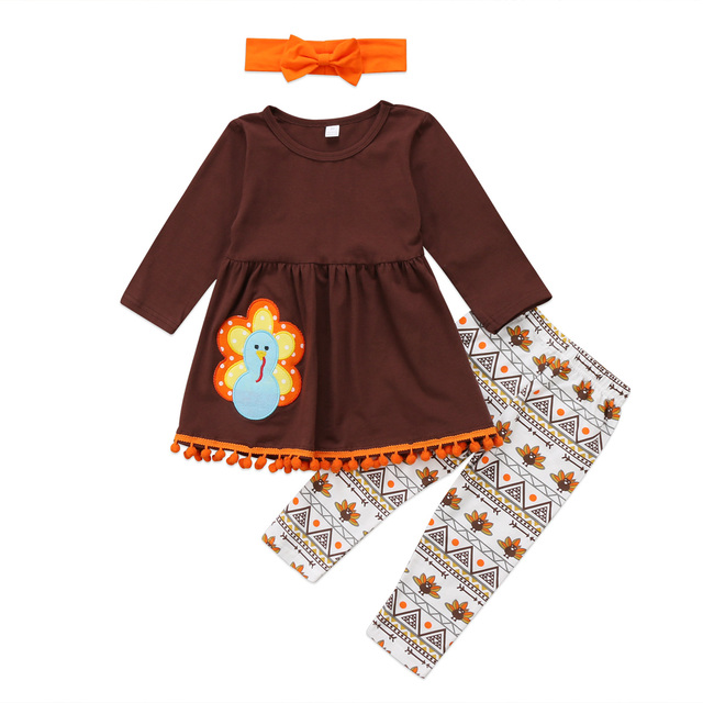 8a1ab3ea0 Toddler Kids Baby Girls Clothes Set Autumn Brown Long Sleeve Thanksgiving T  Shirt Tops Leggings Headband Turkey Girl Outfit 3PCs