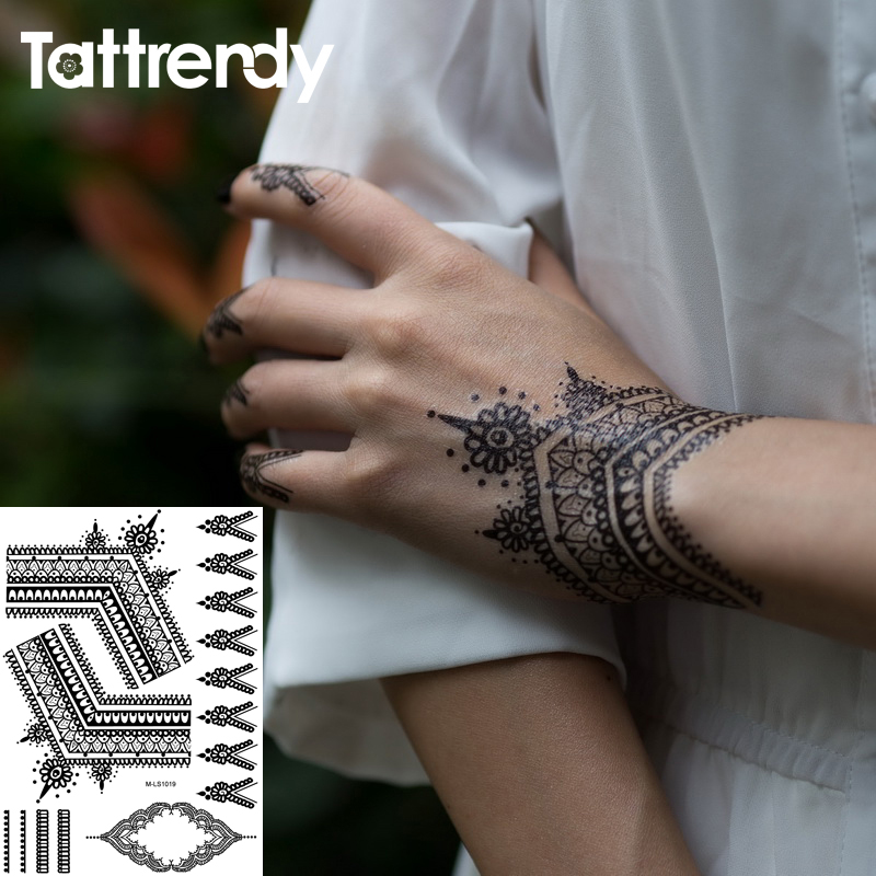Tattrendy hot Black White Henna Tattoo Stickers Flash Temporary Waterproof Lace Inspired Body Indian Hand butterfly Dreamcatcher girl