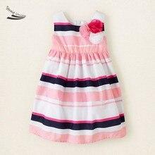 Hot Sale Lovely Baby Girls Red Flower Dress Cute Kids Dress Children Summer Dress Striped Baby Wear B003