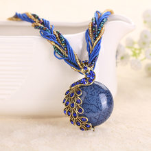 Brand New Peacock Decoration Rough Necklace Female Clavicle Short Chain Natural Stone Pendant Necklaces BK-01(China)