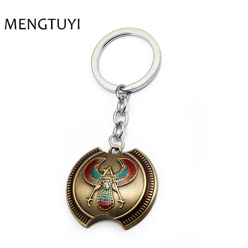 J Store New style Game anime keychain bronze keyring shield Metal car keychain chaveiro for men women