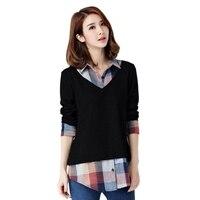 Hot Sale Women Two Pieces Striped Shirt Girls Long Sleeve Turn Down Collar Check Shirt Large