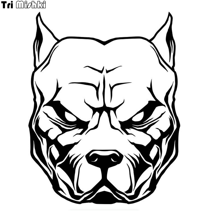 Cs 42117 415cm Pit Bull Head Funny Car Sticker And Decal Silver