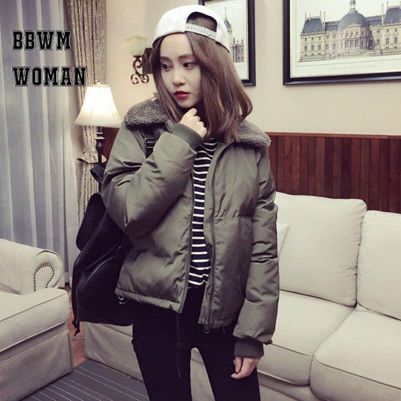 Winter Jacket Women Black and Army Green Parka Thick Harajuku Cotton Lamb Fur Jackets Women Padded ZO852