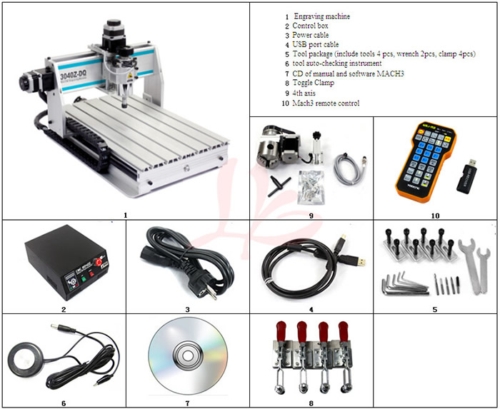 Free tax to RU 3040Z-DQ USB 4 axis 300W mini CNC router carving machine with mach3 remote controller russia tax free cnc woodworking carving machine 4 axis cnc router 3040 z s with limit switch 1500w spindle for aluminum