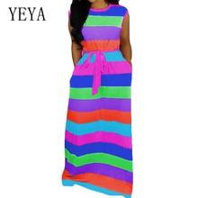 YEYA New Women Summer Striped O-neck Sleeveless with Sashes Maxi Dress Causal Fashion Elegant Beach Party Long Dresses Vestidos