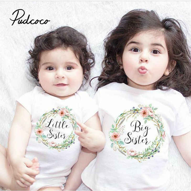 pudcoco Family Clothing Set Baby Kids Girls 2019 New Little Big Sister Short Sleeve Clothes Jumpsuit Romper Outfits T Shirts