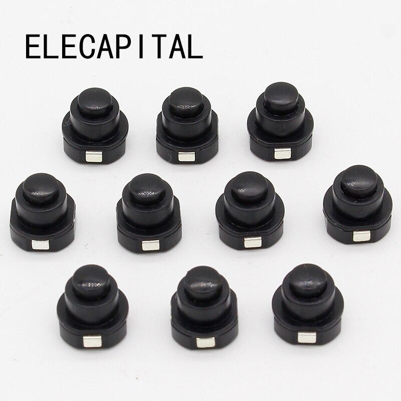 10PCS a lot Flashlight Torch Part Round Push Button Switch Black DC 30V 1A 10mm x 10mm (D*H)