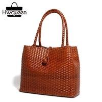100% ручной вязки дизайнер из натуральной кожи Для женщин Изящные кошелек Винтаж коровьей подарок мешок для мамочек женские тканые сумки