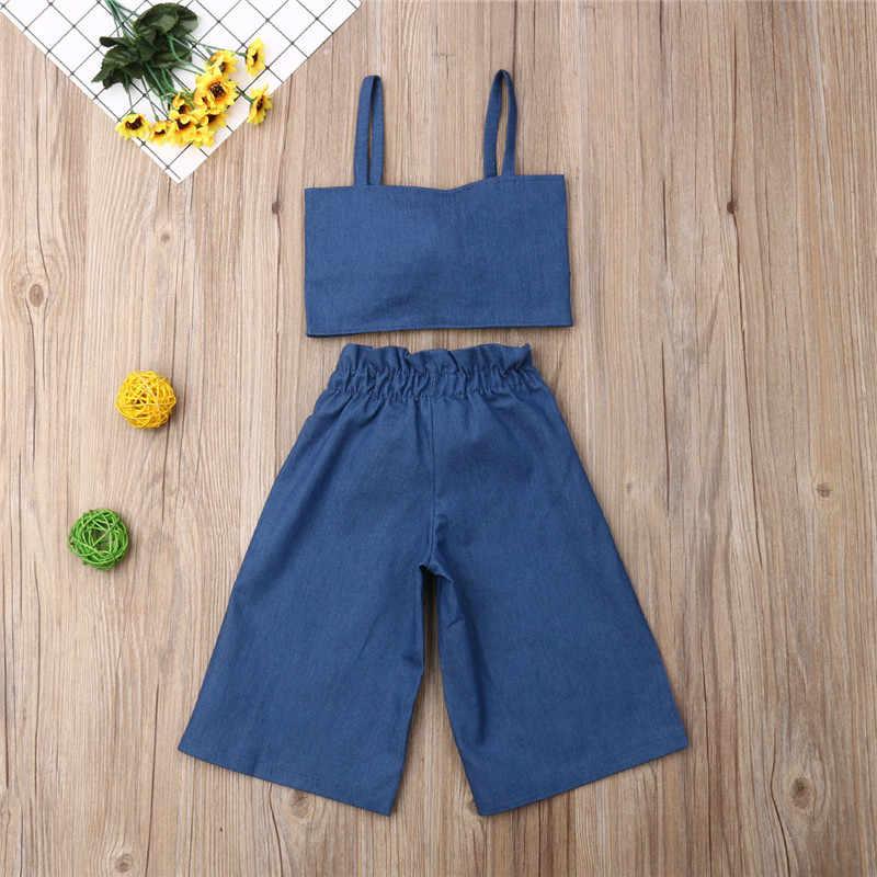 Yaz Çocuklar Bebek Kız Giysileri Spagetti Kayış Ilmek kolsuz yelek Tops + Uzun Pantolon 2 Adet Resmi Kıyafet 2019 Çocuk Eşofman