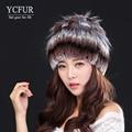 YCFUR Warm Winter Fur Caps For Women 4 Colors Stripes Genuine Rex Rabbit Fur Hats Natural Rabbit Fur Beanies Skullies Female