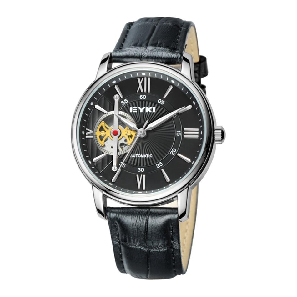 ФОТО EYKI 2017 Luxury Men Watches Leather Strap Self-Wind Hollow 30m Waterproof Fashion Casual Design Mechanical Watch Relogio Hombre