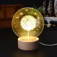 3D Moon Light Dandelion Bedside Decorative Table Lamp , And Popular Home decoration Night Light