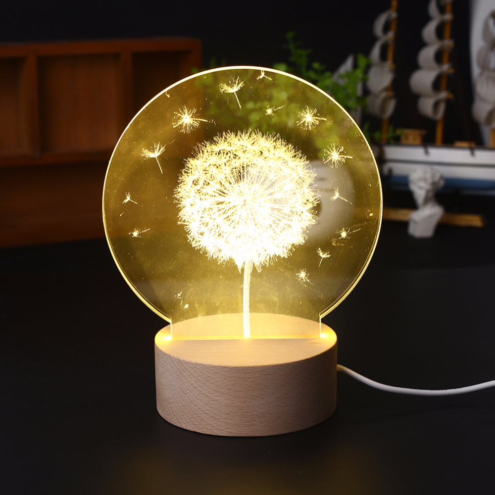 3D Moon Light Dandelion Bedside Decorative Table Lamp , And Popular Home decoration Night Light