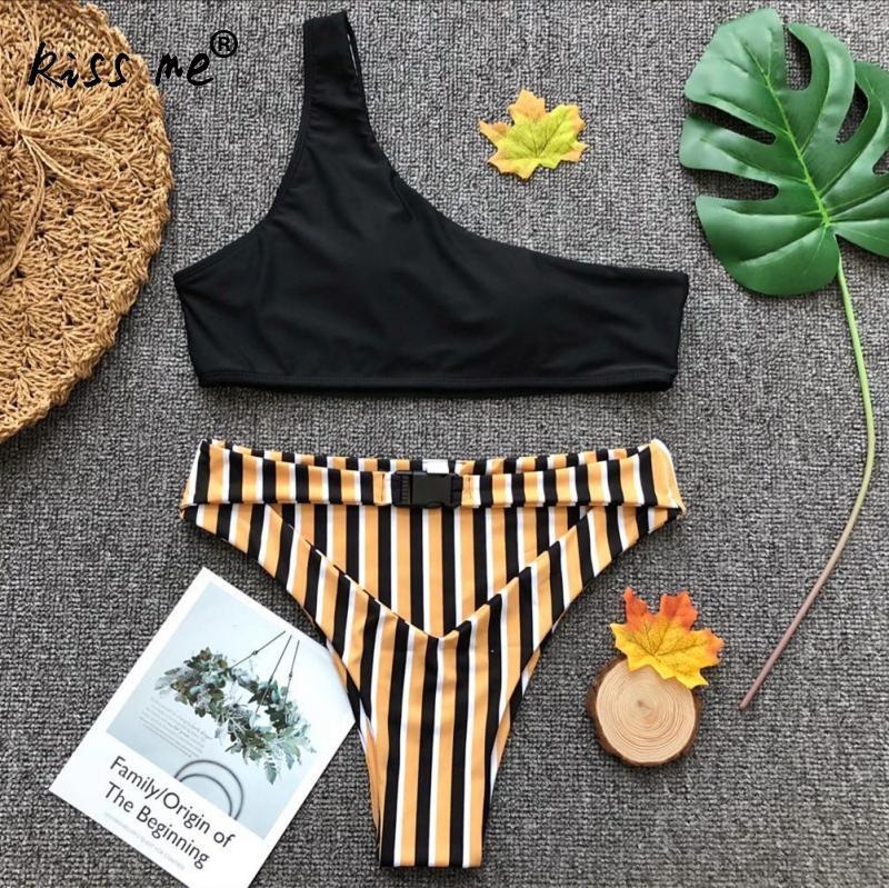 2018 New Swimwear Women Tankini Set High Waist Striped Swimsuit Two Piece One Shoulder Swimwear Bow Sexy Beach Wear Swimwear