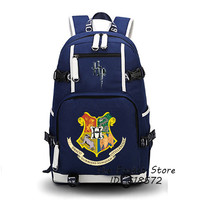 Harry Potter Backpack Hogwarts School Motto Printing Backpack WITCH Women Backpack Canvas School Bags Teenagers Shoulder