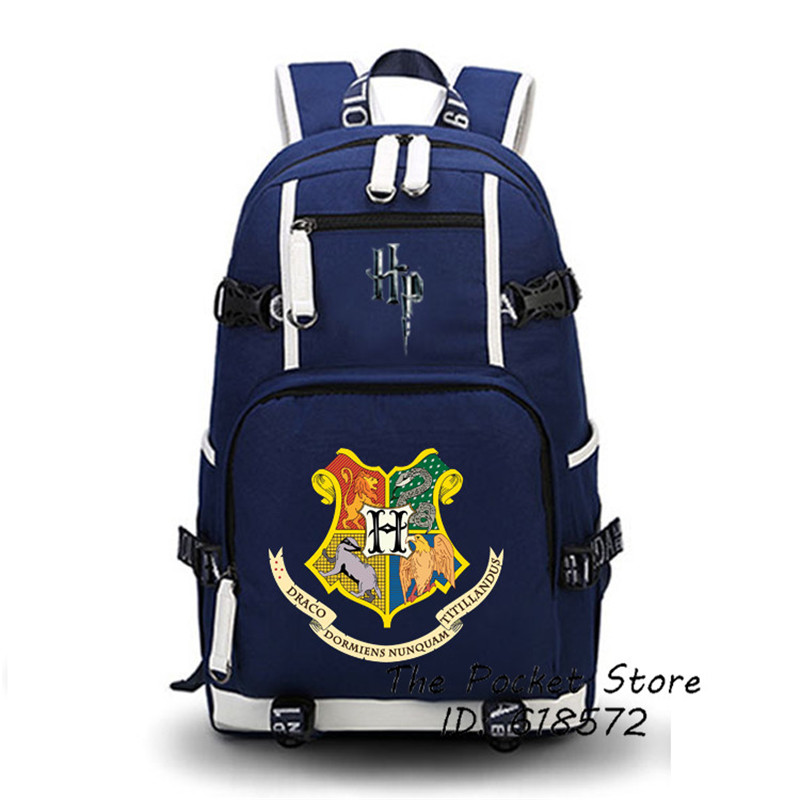 Harry Potter Backpack Hogwarts School Motto Printing Backpack Witch Women Backpack Canvas School Bags Teenagers Shoulder Bags