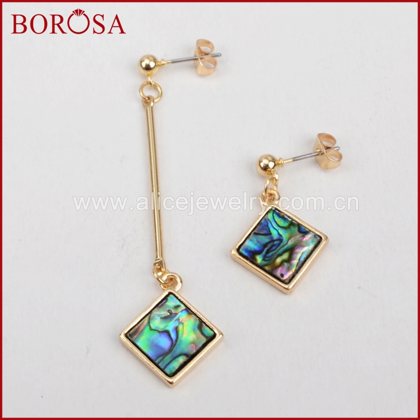 BOROSA Personality Rhombus Asymmetry Drop Earrings Abalone Shell Jewelry Dangle Earrings Women Accessories WX377