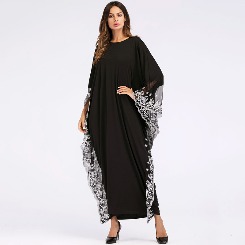 Casual Broderie Maxi Robe Dentelle Abaya Manches Chauve-Souris Jupe Kimono Longue Robe Robes Ramadan Musulman Moyen-Orient Arabe Islamique Vêtements