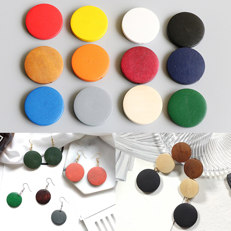 10PCS/Lot Jewelry Accessories Round Environmental Paint Wooden DIY Earrings Necklace Hot Sale Braclets Candy Color 15/20/25/30mm