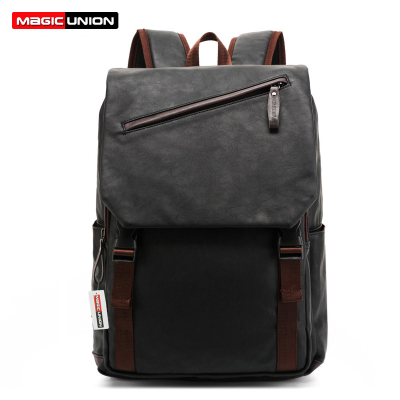 Magic Union Hot Sale Leather Backpack Men's Casual & Travel Bags Oil Wax Leather Laptop Bags College Style Backpacks Mochila Zip