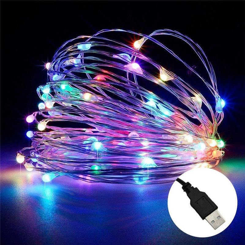 USB 5V 10M100LED silver Wire String Light For Xmas Holiday Wedding Party outdoor Decoration LED string Fairy Lights Lamps