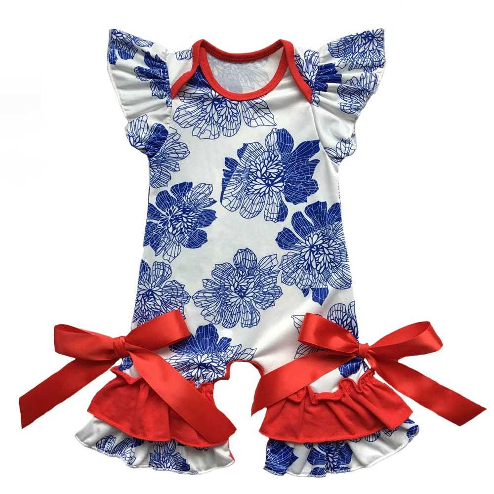 703deb388fde ... Patriotic Infant Clothes Newborn Clothing in 4th of July Baby gown  Romper flutter sleeve capris leg ...