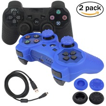 blueloong 2pcs Black and Blue Color Wireless Bluetooth Joystick Gamepad For Playstation 3 PS3 Controller + Free Shipping