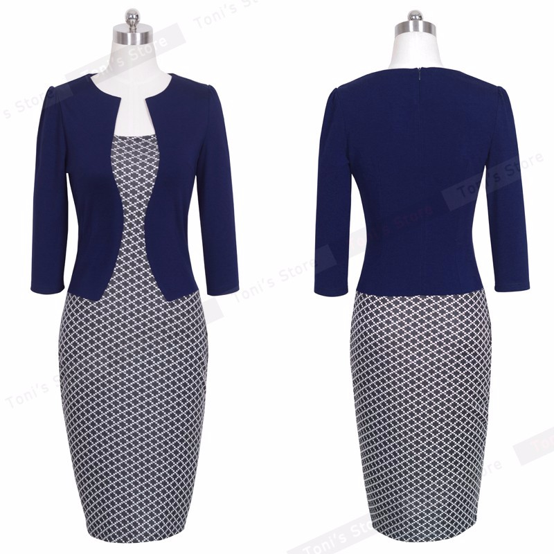 Nice-forever One-piece Faux Jacket Brief Elegant Patterns Work dress Office Bodycon Female 3/4 Or Full Sleeve Sheath Dress b237 23