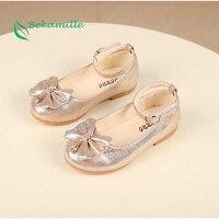 Nieuwste Herfst Meisjes leren schoenen Kinderen meisjes baby prinses strik sneakers parel diamant enkele schoenen Kids dansschoenen