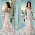 New Arrival Robe de mariage Elegant White/Ivory Mermaid Wedding Dresses 2016 Long Sleeve Sheer Back O-Neck Lace Wedding Gowns