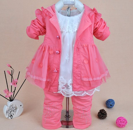 0-2Y new 2016 spring girls high quality lace clothing sets 3pcs kids clothes sets girls lace shirt baby girl spring autumn set
