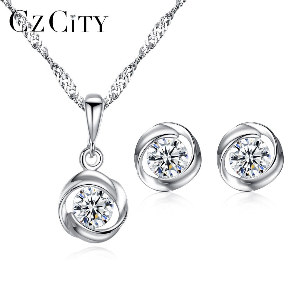 CZCITY Simple Single One Carat 925 Sterling Silver Flower Wedding Engagement Jewelry Sets for Bridals Women Silver Jewelry Set