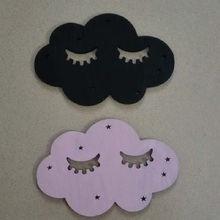 Lovely Cartoon 7 Colors 3D Wooden Smile Cloud Sticker Children DIY BedRoom Wall Decoration Nordic Style