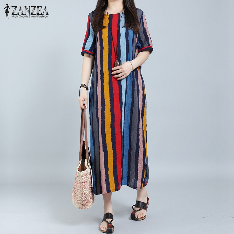 Vestidos 2018 ZANZEA Women Summer Long Maxi Dress Casual Loose Short Sleeve Striped Retro Ankle Length Dress Plus Size L-5XL