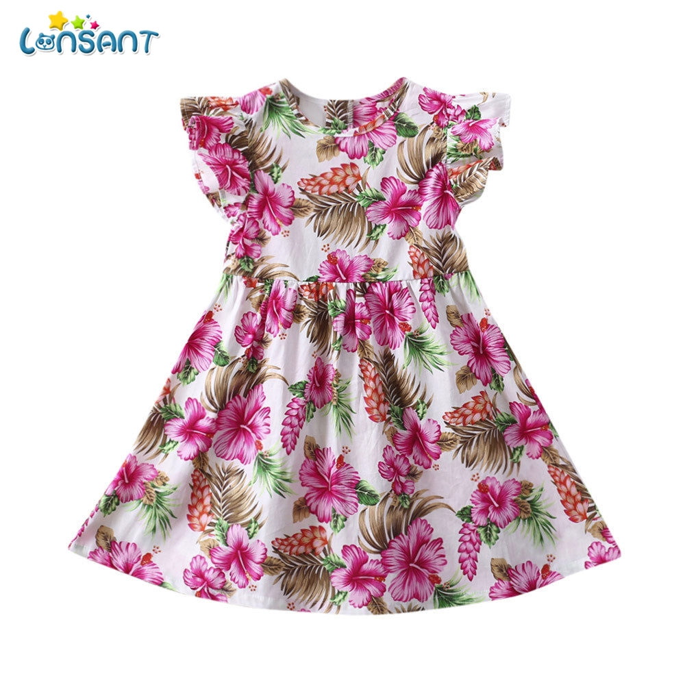LONSANT Hot Selling Summer Fashion Baby Girls Kids Infant Toddle Floral Rabbit Sleeveless Clothes Princess Girls Dress