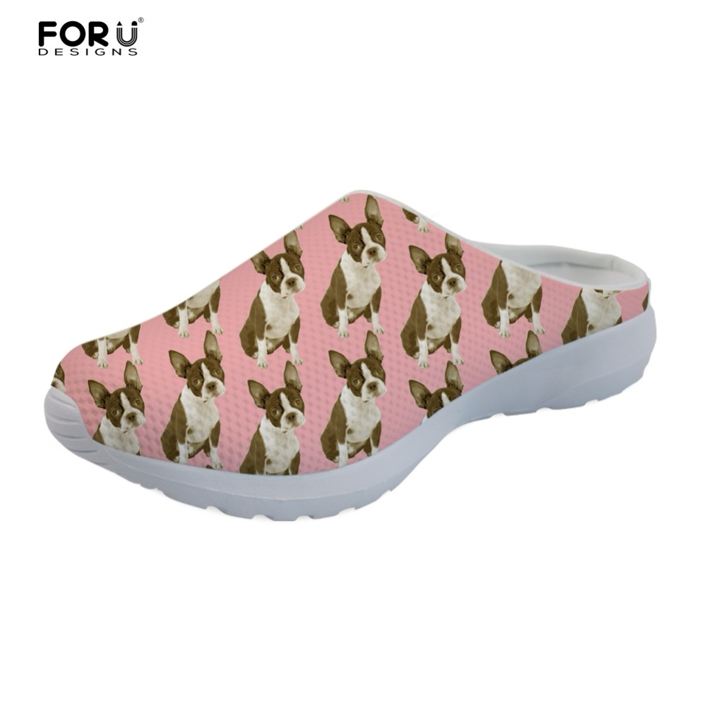 FORUDESIGNS Slippers Cute Boston Terrier Pattern Summer Shoes Woman Flats Fashion Women Home Sandals Casual Mesh Ladies Slippers