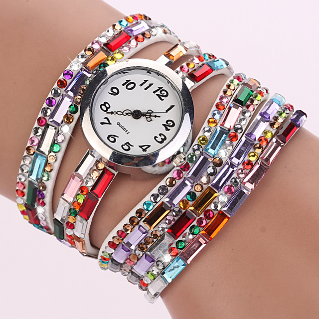 Fashion Women Multilayer Bead Bracelet Watch Wristwatch Luxury Brand Quartz Multi-layer Colorful Watches Gift P15