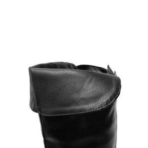 Image 5 - MORAZORA 2020 מכירה לוהטת מעל הברך מגפי נשים pu רטרו zip סתיו חורף מגפי נמוך עקבים נעליים יומיומיות אישה ירך גבוהה מגפיים