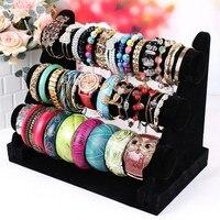Hot 3 Tier Velvet Holder Stand Rack T Bar Watch Bracelet Jewelry Display Black free shipping