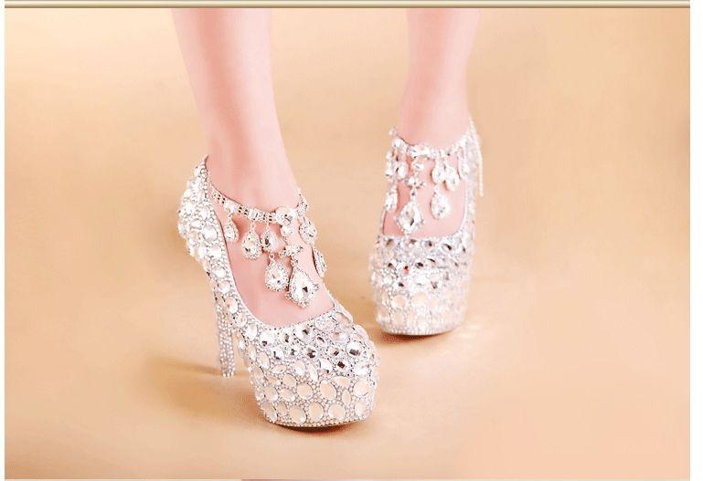 ФОТО Crystal shoes TG490 Round head  Diamond Waterproof  platform  High-heeled Silver Banquet shoes  wedding shoes