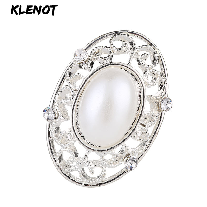New Pearl Oval Brooch Pins Rhinestone Crystal Pearl Pins and Brooches for Women Decoration Clothes Jewelry Suit Scarf Collar Pin