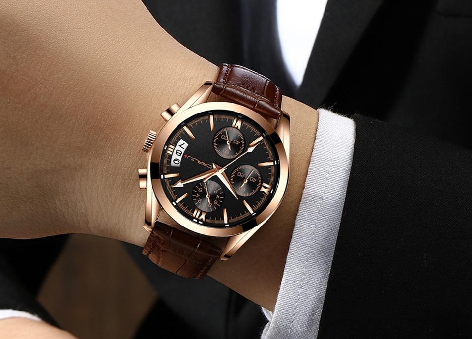 CRRJU Męskie Chronograp Sport Zegarki Luksusowe Złoty Zegarek - Męskie zegarki - Zdjęcie 4