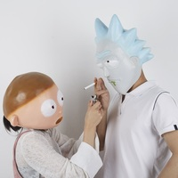 Anime Rick and Morty Cosplay Mask Helmet Cute Full Face Head Latex Masks Masquerade Halloween Women/Men Party Props