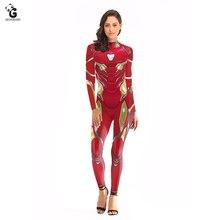 New Iron Man Costume Women Endgame Cosplay Halloween Costumes for Women Quantum Battle Suit Captain Costumes Superhero Bodysuit