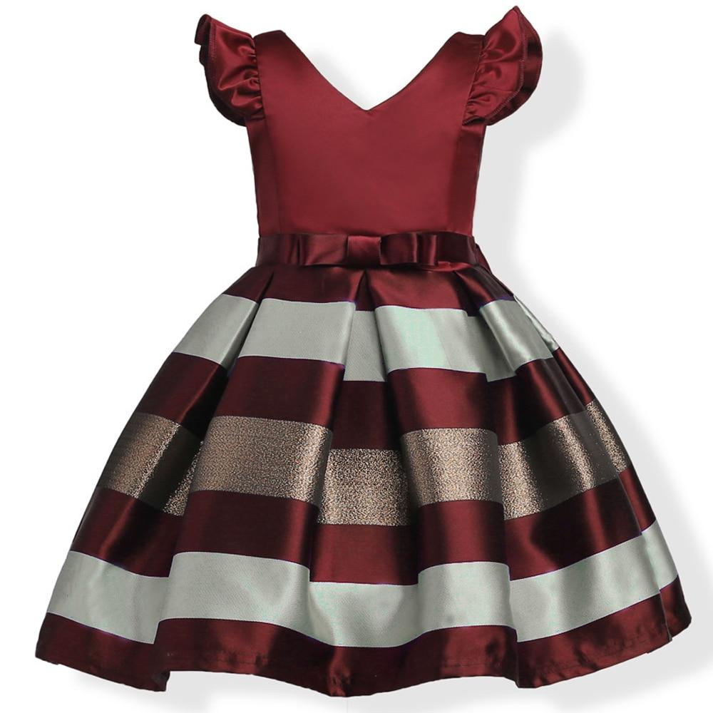 2017 New princess For Grils Dress v-neck fashion girl's striped dress High - grade Cotton Party dress 2017 Kids Girls Clothes dz677 new fashion high grade party